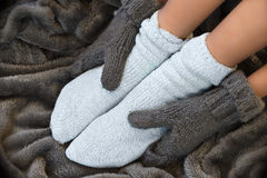 Feet in comfortable and warm woolen socks