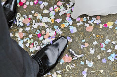 Feet with confetti Stock Photos
