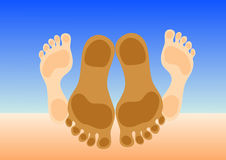 Feet of couple making love. On beach sand. Vector illustration Stock Photos
