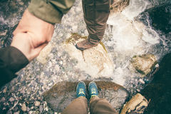 Feet Couple Man and Women in love holding hands Royalty Free Stock Image