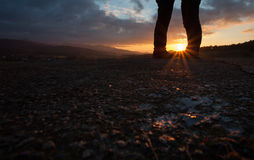 Feet of couple in sunset Royalty Free Stock Photos