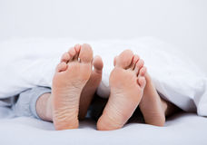 Feet of a couple under the blanket Stock Photography