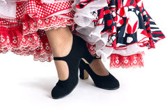 Feet detail of Flamenco dancer in beautiful dress Stock Images