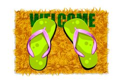 Feet on Door Mat Royalty Free Stock Photos
