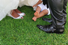 Feet of family in the day of wedding Royalty Free Stock Photos