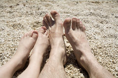 Feet of father and child on the beach Stock Image