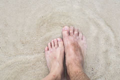 Feet of father and son at the beach Royalty Free Stock Image