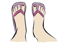 Feet with flip flop. Drawing of two feet with flip flop Stock Photo