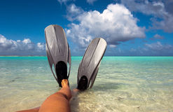 Feet in flippers Stock Photo