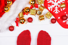 Feet on floor. Christmas holidays concept Royalty Free Stock Image
