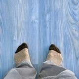 Feet floor home Stock Photo