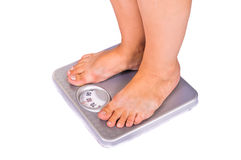 Feet on floor scales Stock Images