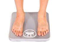 Feet on floor scales Stock Photography