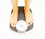 Feet on floor scales Stock Photography