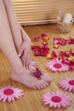 Feet with flower deco Royalty Free Stock Photos