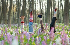 Feet in flowers Royalty Free Stock Images