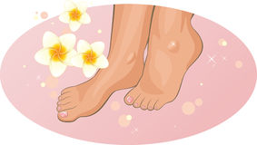 Feet with frangipani flowers in the SPA Stock Photography