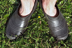 Feet in galoshes Stock Photo