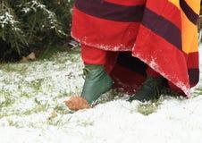 Feet of girl in historical dress Stock Image