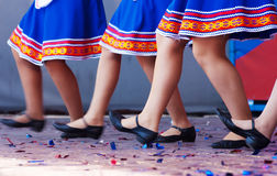 Feet of girls dancing on stage. Closeup royalty free stock photo