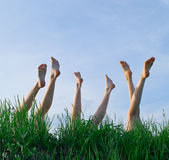 Feet of girls laying and sunbathing in a grass. Against the blue summer sky Royalty Free Stock Photos