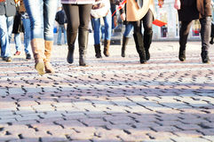 Feet of going women royalty free stock photo