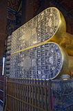 Feet of the Reclining Buddha in Wat Pho. Feet of the golden Reclining Buddha in Wat Pho, Bangkok, Thailand stock photo