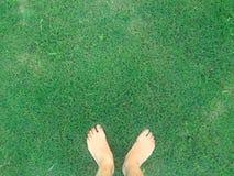 Feet on Grass Stock Image