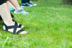 Feet on the grass Stock Photography