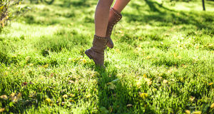 Feet on a grass Stock Photos