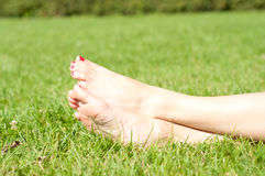 Feet on grass Royalty Free Stock Photo
