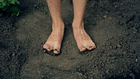 Feet on the Ground. Man's feet on the ground stock footage