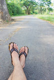 The feet on ground Royalty Free Stock Photography