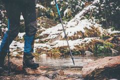 Feet hiker crossing river Travel Lifestyle Stock Photography