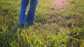 Feet hit a soccer ball close up stock video