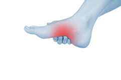 Feet hurt, shown red, keep handed Stock Images