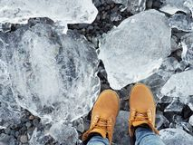 Feet on ice. Wearing snow shoes and standing on the clear big ice in Iceland Stock Image