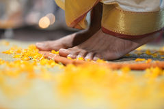 Feet of an Indian ritualist Stock Images