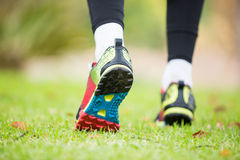 Feet of jogger jogging Royalty Free Stock Photos