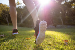 Feet of jogger jogging in the park Royalty Free Stock Photography