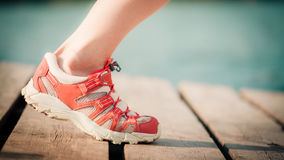 Feet of jogging woman Royalty Free Stock Photography
