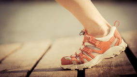 Feet of jogging woman Royalty Free Stock Images