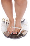 Feet and legs tape on scales Royalty Free Stock Images