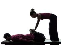 Feet legs thai massage silhouette Stock Image