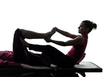 Feet legs thai massage silhouette Royalty Free Stock Images