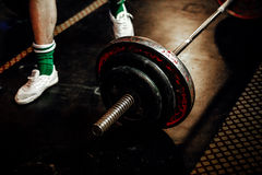 Feet male athlete powerlifter royalty free stock images