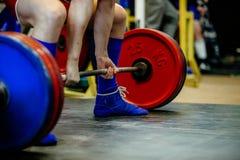 Feet male athlete powerlifter stock photo