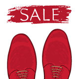 Feet in male shoes on the road. Sale. Vector Stock Images