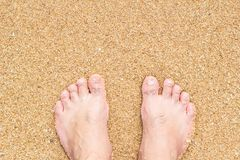 Feet of male standing on beach sand Stock Photography