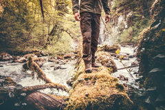 Feet Man hiking outdoor Stock Image